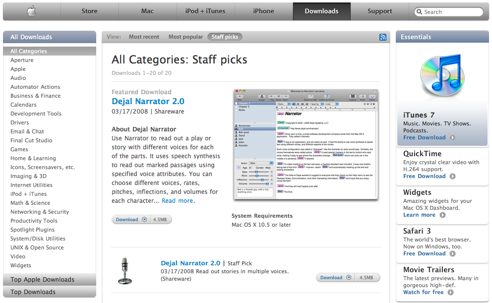 Narrator as Apple's Featured Download